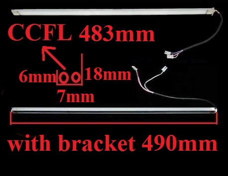 2 CCFL lamps 483mm with bracket 490mm wide 7mm for 22