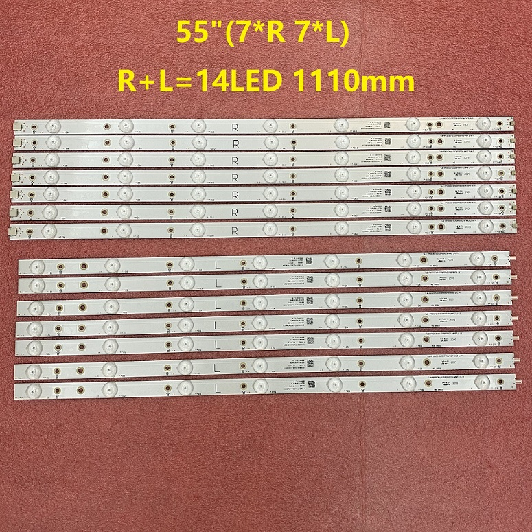 14pcs LED strip for 55PUS6581 55PUS6561 55PUS6101 55PUH6101 55PUS6401 GJ-2K16-550-D714-S1-R L 01N31