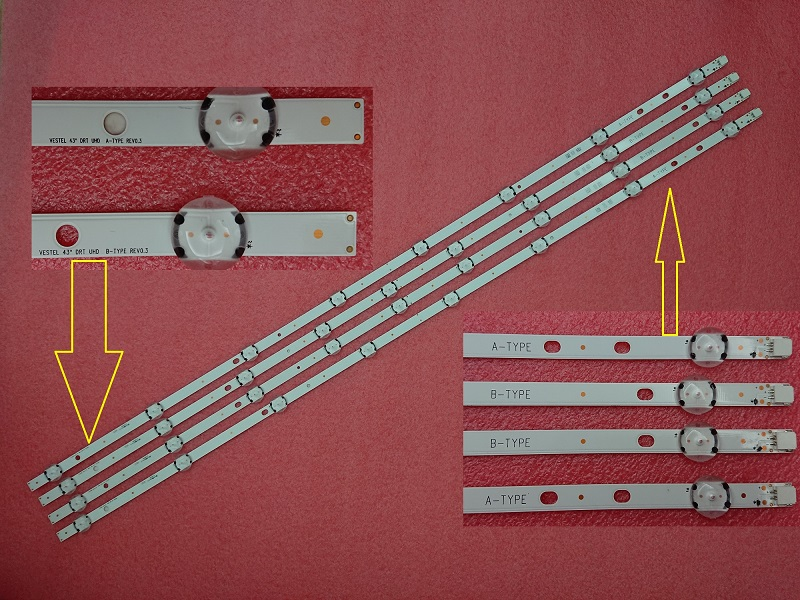 4 PCS LED strip for TOSHIBA 43U6663DB JVC LT-43C862 VESTEL 43 DRT UHD A B-type VES430QNDL-2D-U11