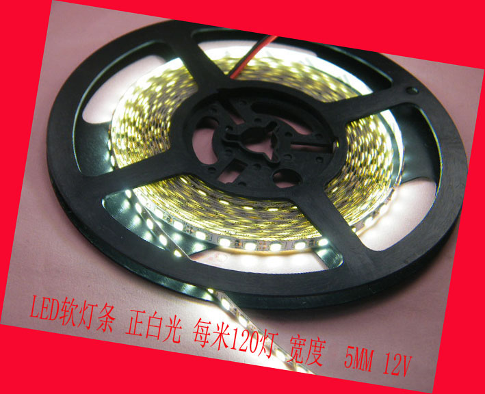 High light led strip 5M*5mm 600 Leds 2835 SMD,white,yellow,blue light,Input:12V