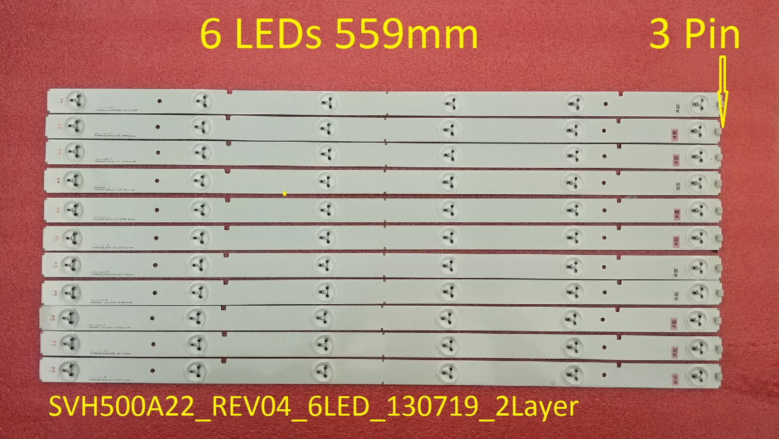 2 Pieces LED50K20JD LED strip SVH500A22-REV04-6LED-130719-2Layer SVH500A22_REV04_6LED_130719_2Layer